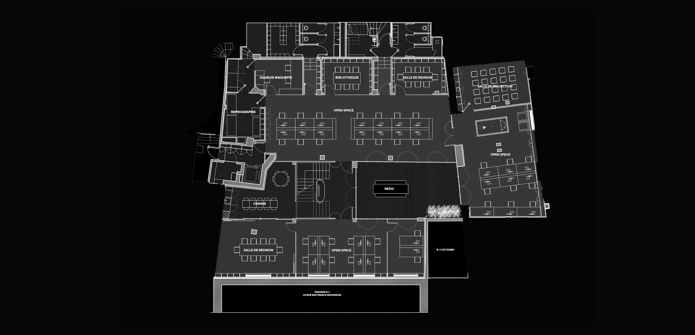 cluster PCA-STREAM bureaux marais paris écosystème créatif travail patio plan
